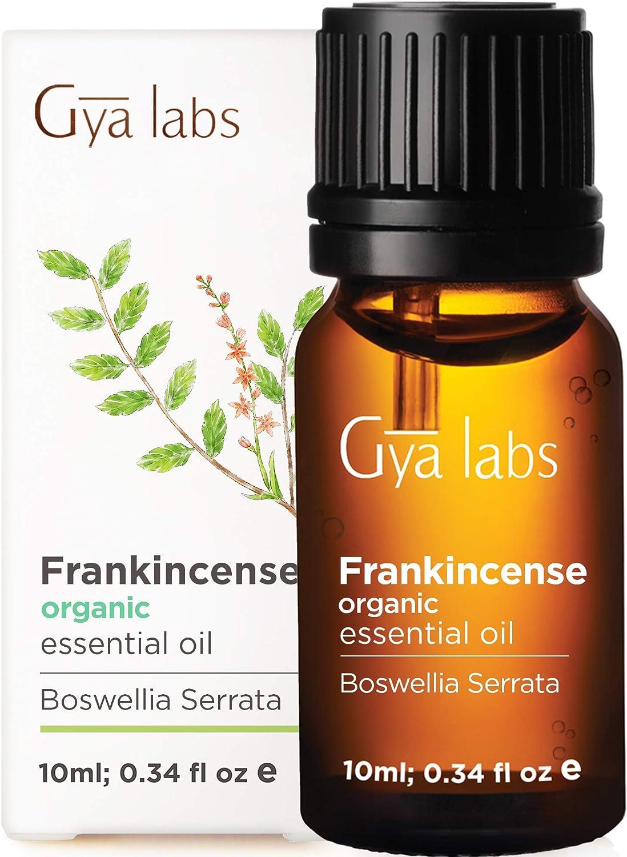 Aceite esencial de incienso orgánico para aromaterapia, piel y cara (10 ml) - Grado terapéutico 100% puro - Gya Labs