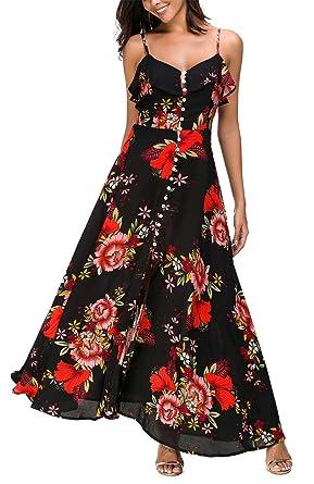 75cbb511afe DGMYG Womens Button up Split V Neck Floral Print Strap Backless Flowy Party  Maxi Dress S