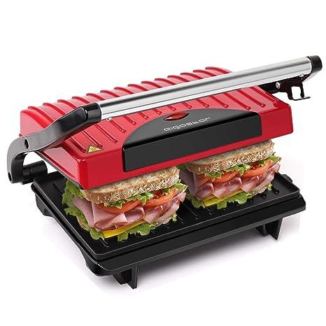Aigostar Warme 30HHH – Grill, parrilla, sandwichera y máquina de panini 700 W de potencia, asa de toque frío, placas antiadherentes. Libre de BPA, ...