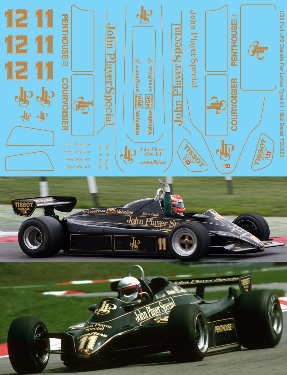1//20 Full JPS Decals for Ebbro Lotus Type 91 1982 Decal TBD293