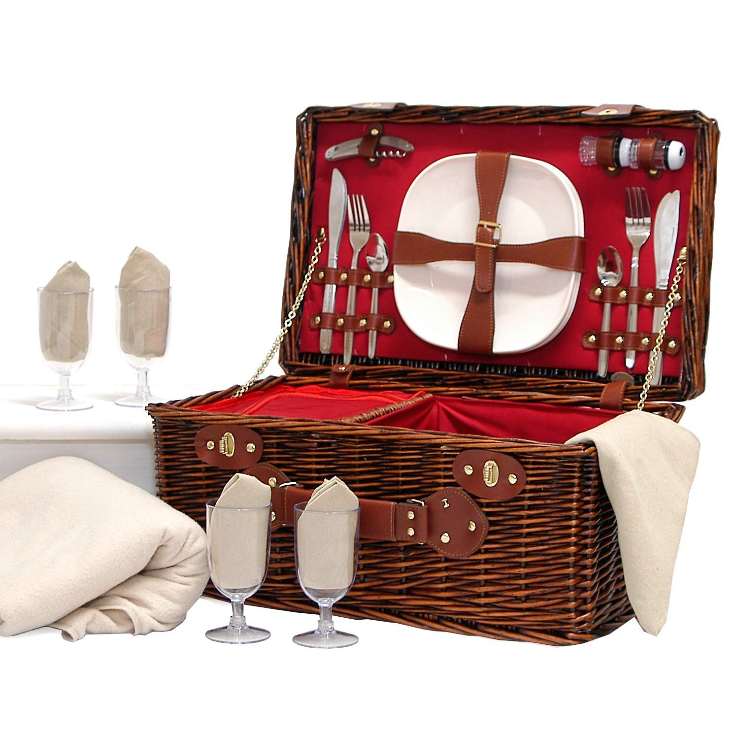 Redgrave 4 Person Wicker Picnic Basket Set & Cream Fleece Picnic Blanket - Gift Ideas for Fathers Day, Mom, him, her, Birthday, Wedding, Anniversary, Corporate, Business, Thank You, Family, Dad