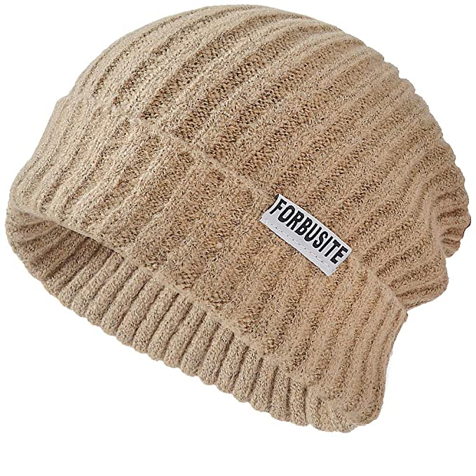 8a42ad165c5ad FORBUSITE Cuffed Ribbed Knit Slouchy Beanie Winter Cap Hats for Women Men  Beige