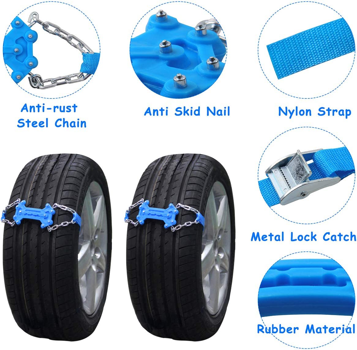 2pcs Universal Anti-Skid Chains of Wheel Winter Slip Proof Vehicle SUV Chain Emergency for Snow Mud Ice with Snow Shovel Glove Blue, Width:130mm-265mm Snow Chains Car Traction Aid
