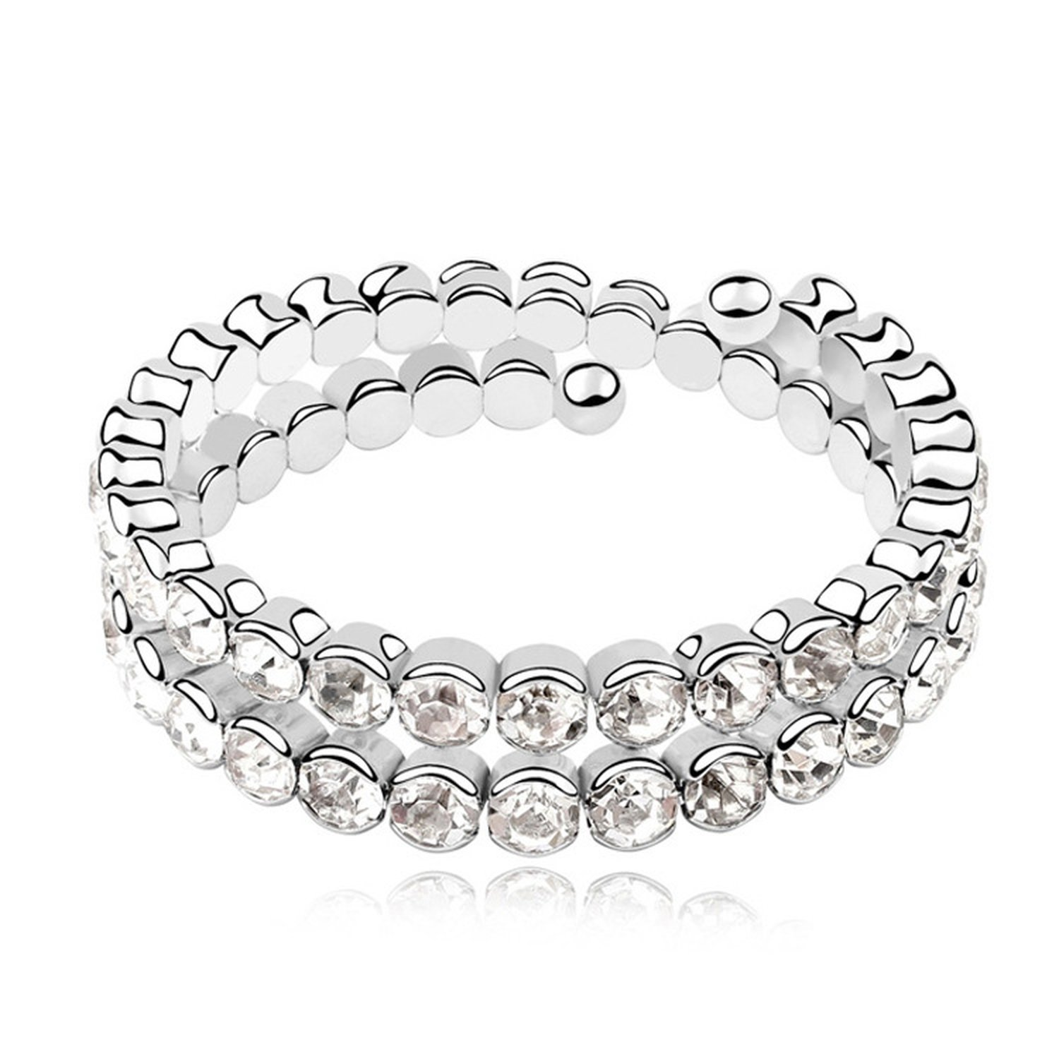 Flower-Bud Korean Fine Bracelet High-End Handmade Crystal Bangle - Unblemished Beauty Multi-Layer Bracelet,White 3-129