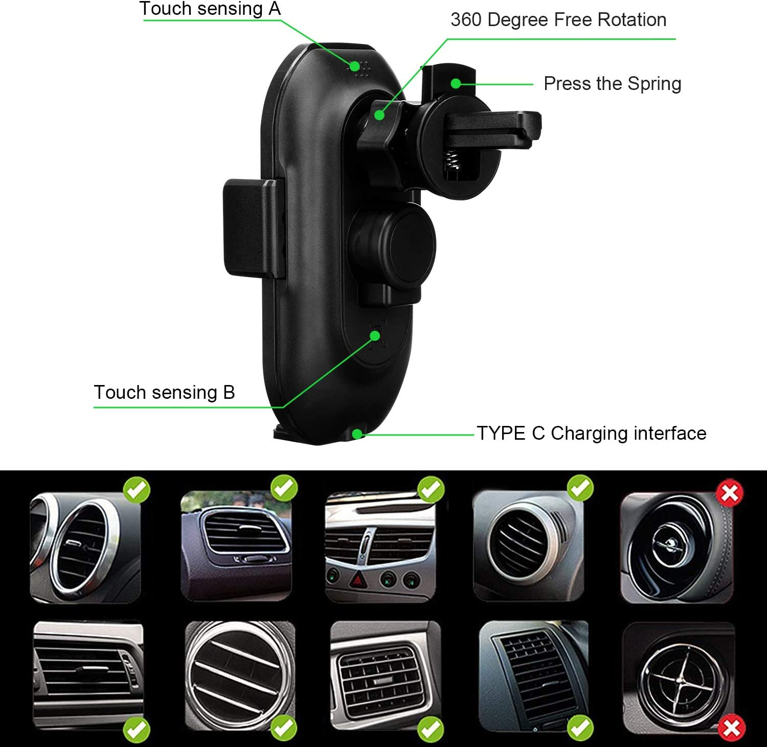 Anstop 2-in-1 Cup Holder Phone Mount Air Vent Holder Auto Clamping Qi Fast Charging Cell Phone Holder Compatible iPhone 11//Xs Max//XS//XR//X//8//8+ Samsung S10//S10+//S9//S9+(Black) Wireless Car Charger