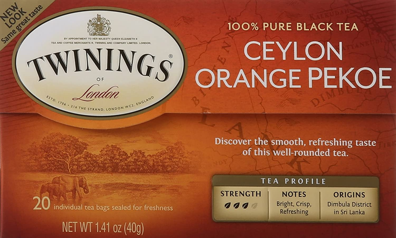 Twinings of London Ceylon Orange Pekoe Tea Bags, 20 Count