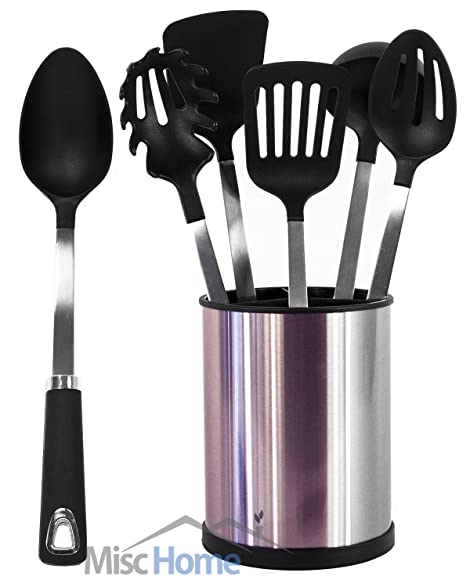 Amazon.com: [UTENSILS + HOLDER] 6 Pcs Stainless Steel Kitchen ...