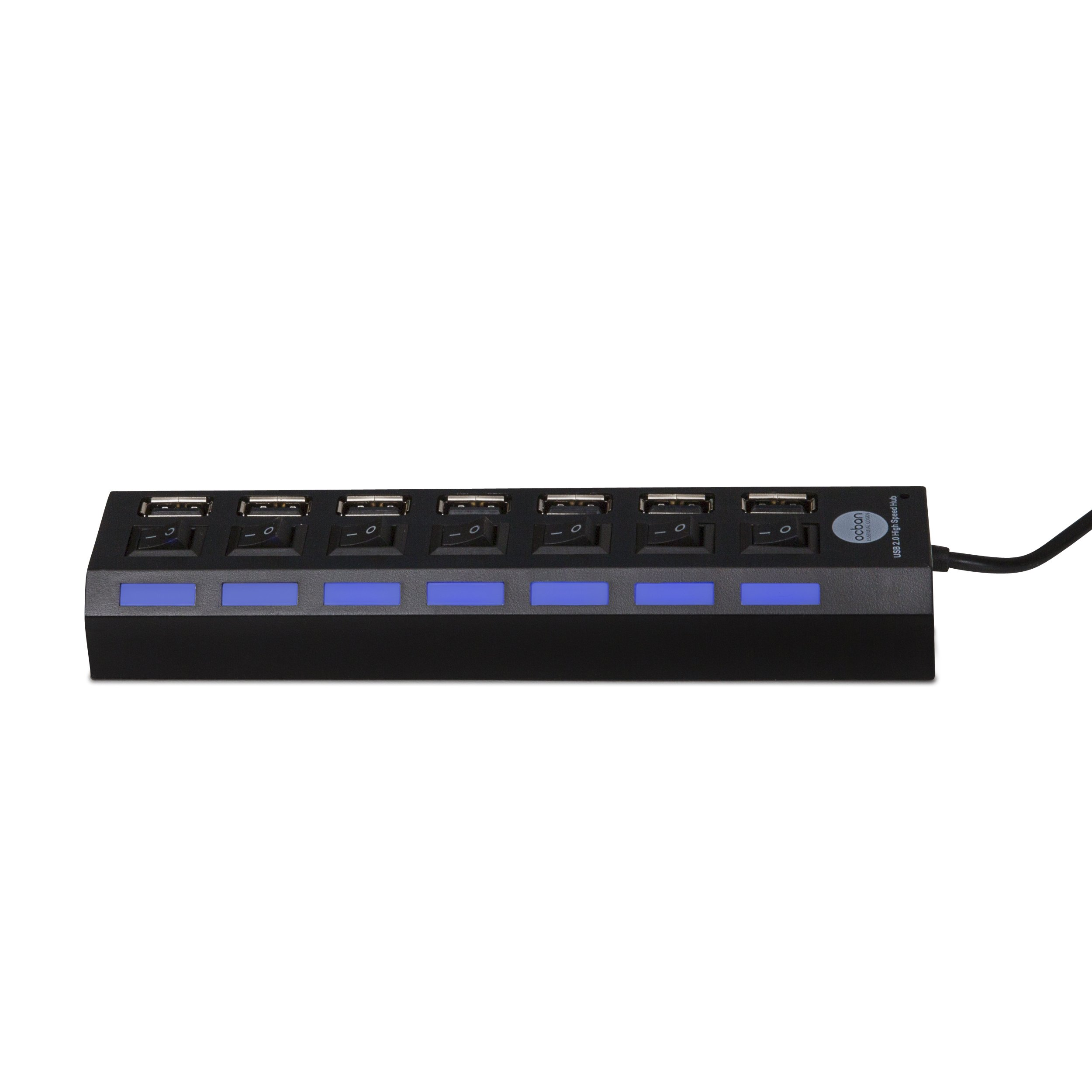 7 Port USB 2.0 Hub with Individual Power Switches and LEDs On Off Switch Design Slim Compact Lightweight Fast Communication For PC Linux Mac Windows Smarts Tvs Accessory Travel Great Price OCBAN by Ocban (Image #3)