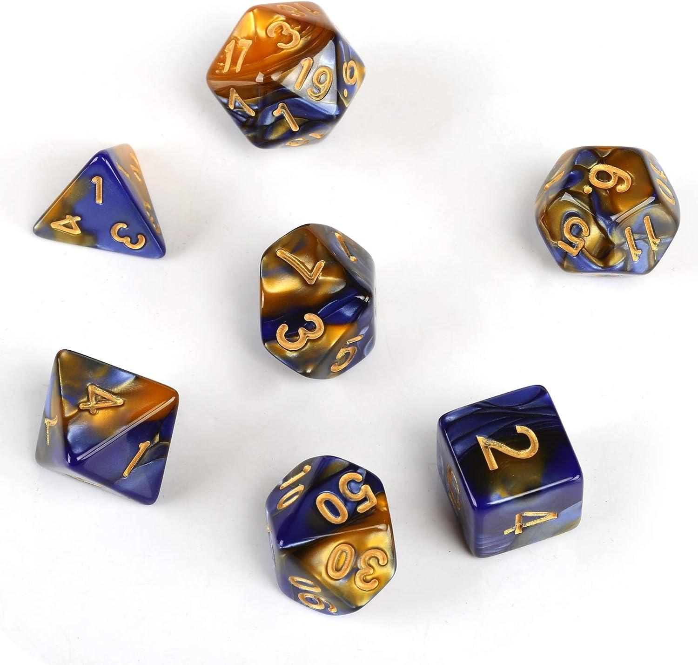 GWHOLE 7 Piezas Dados Poliédricos Dados para Juegos de rol y Mesa Dungeons y Dragons DND RPG MTG con Bolsa Negra (Azul Amarillo): Amazon.es: Juguetes y juegos