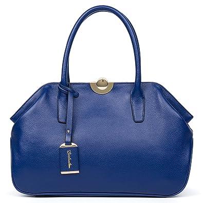 8a73d98192680a BOSTANTEN Women's Leather Handbags Tote Top-handle Purse Shoulder Bags On Sale  Blue