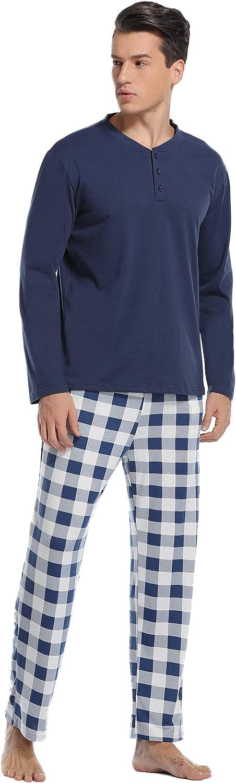 Vlazom Mens Pajamas Set Long-Sleeve Soft PJ Sleepwear Top and Check Bottoms