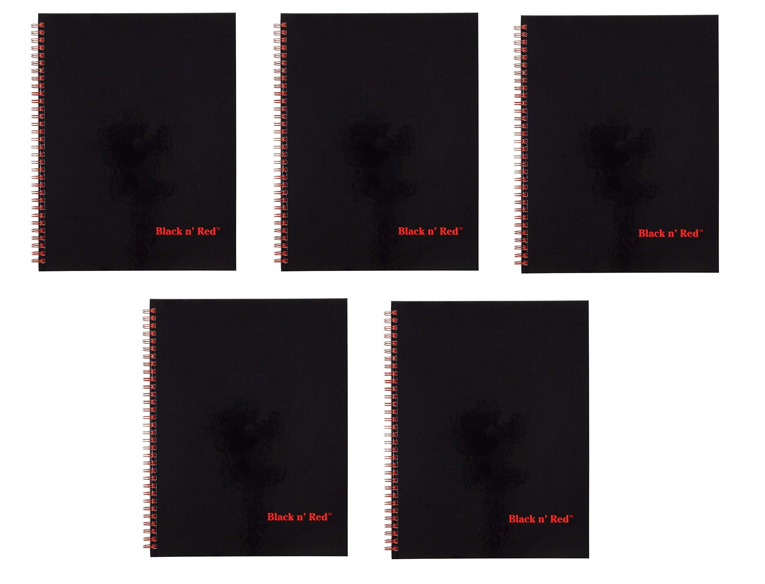 Black n' Red Twin Wire Hardcover Notebook, 11'' x 8-1/2'', Black/Red, 70 Ruled Sheets, Sold as 5 Pack (K67030)