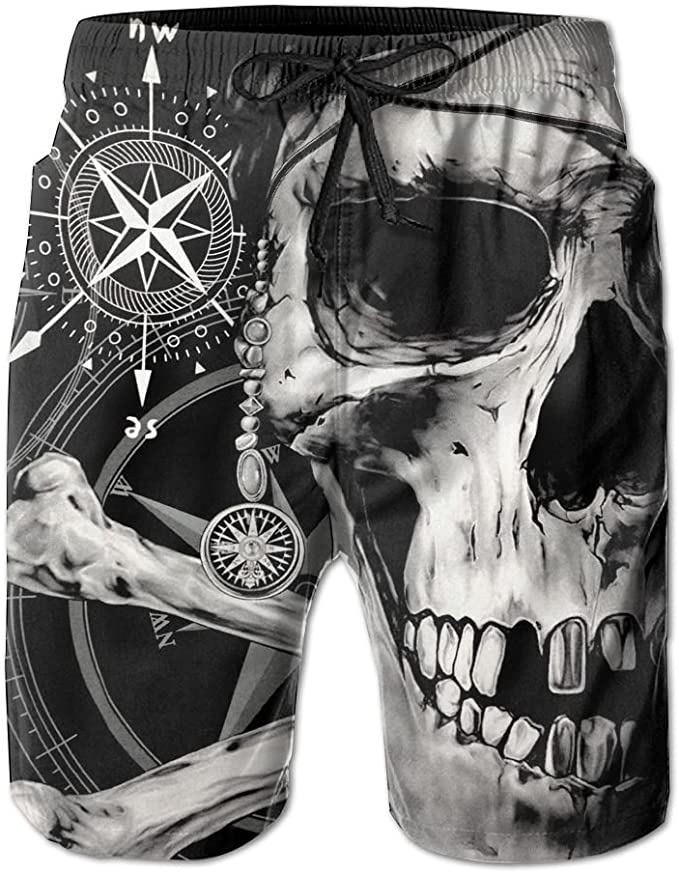Mens Cool Colorful Skull Casual Quick Dry Swim Trunks Elastic Drawstring Swim Shorts with Pocket