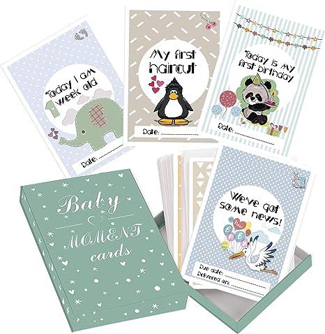 Tarjetas de Etapas del Bebé y Caja de Recuerdos, 50 Tarjetas de Fotos de Momentos Especiales