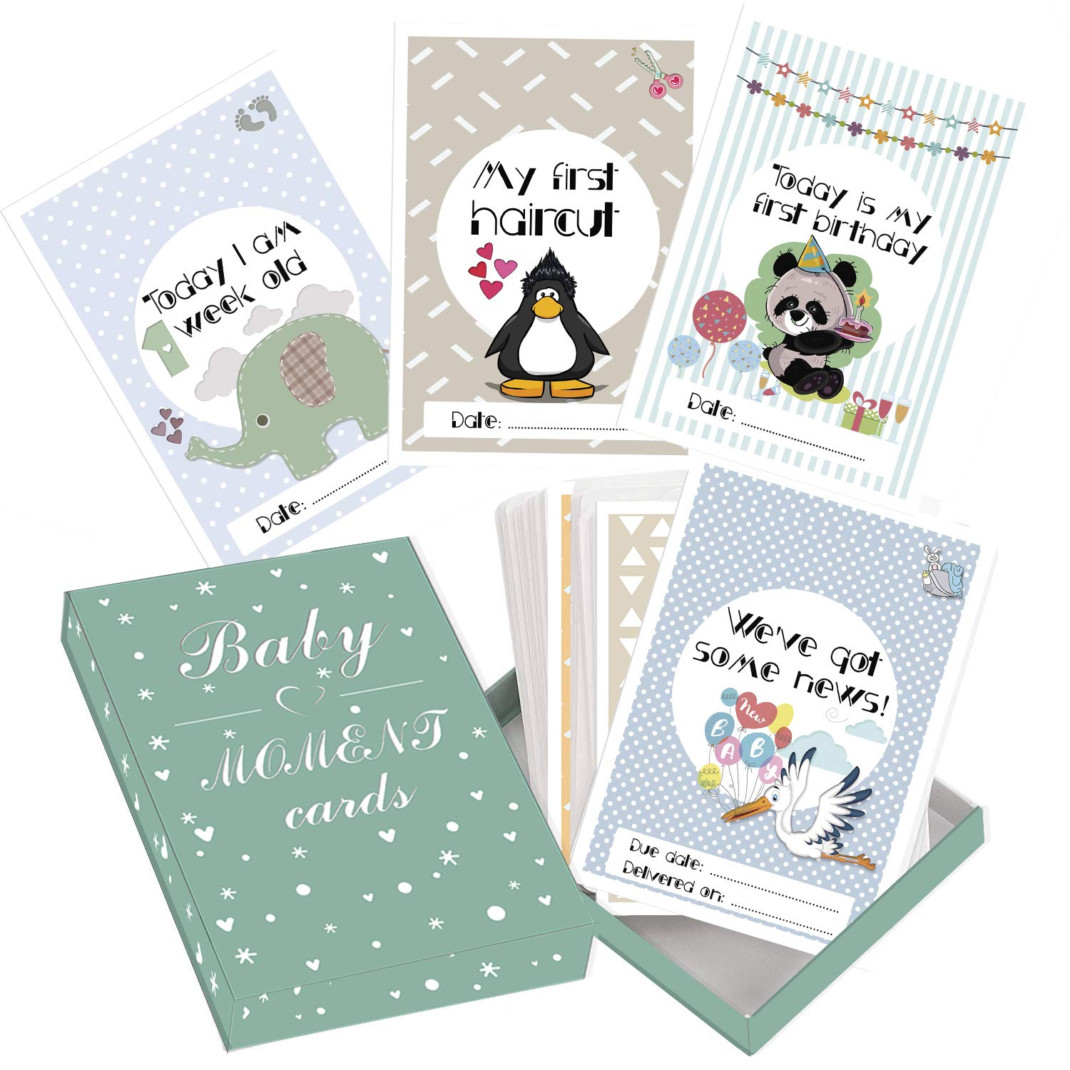 Baby Milestone Cards– 50 Unisex Landmark Moment Photo Cards Including Pregnancy & Key Age Markers– Perfect Baby Shower Gift Set with Original Theme Coloured Designs by LITTLE STARS