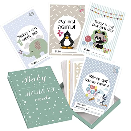 16 Personalised Cards baby Shower Gift Baby Milestone Cards New Baby,