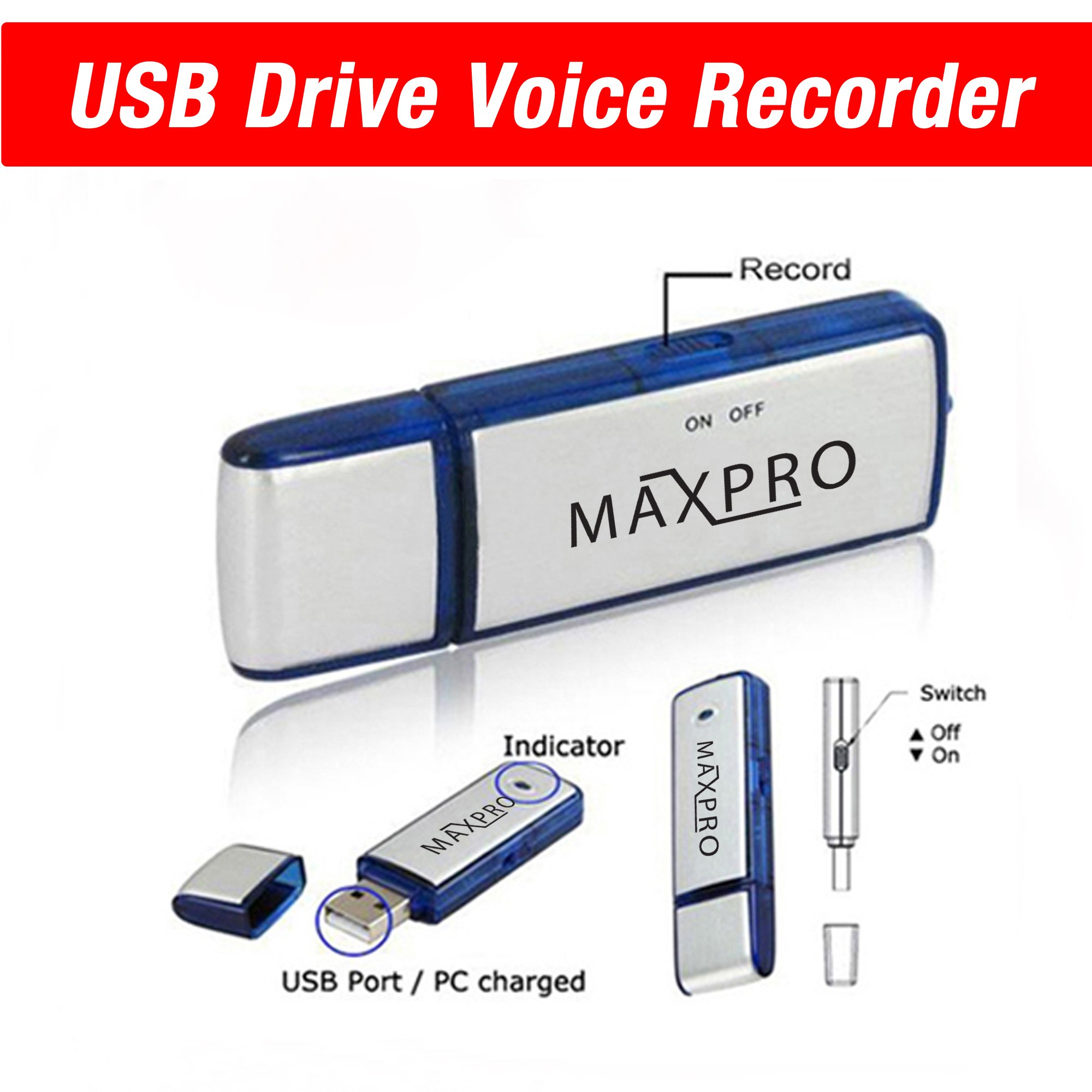 Usb Flash Drive Voice Recorder 8gb by MAXPRO
