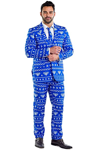 Amazon.com: Tipsy Elves – Traje para hombre Hanukkah – azul ...