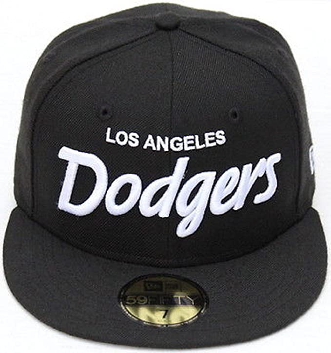 the best attitude 149a9 f2850 Amazon.com   100% Authentic, NWT, MLB Los Angeles Dodgers Script New Era  Fitted Hat Black White 59FIFTY Fitted Hat Cap   Clothing
