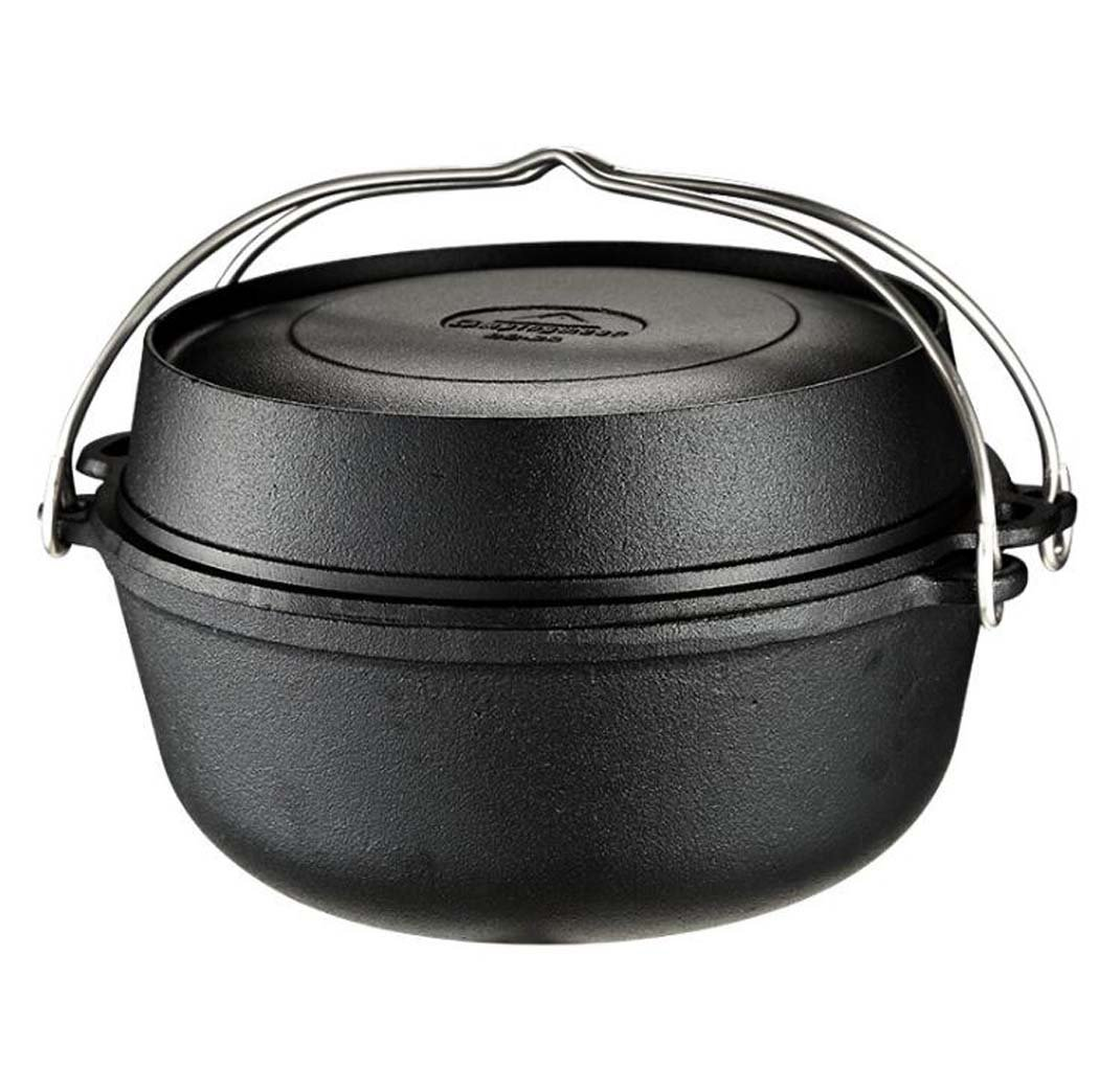 GJX Holländischer Topf dreiteilig, Gusseisen Topf, Geeignet für Suppe, Pflanzenöl auf der Oberfläche, gedünstetes Schweinefleisch, Rippchen, gegrilltes Hähnchen