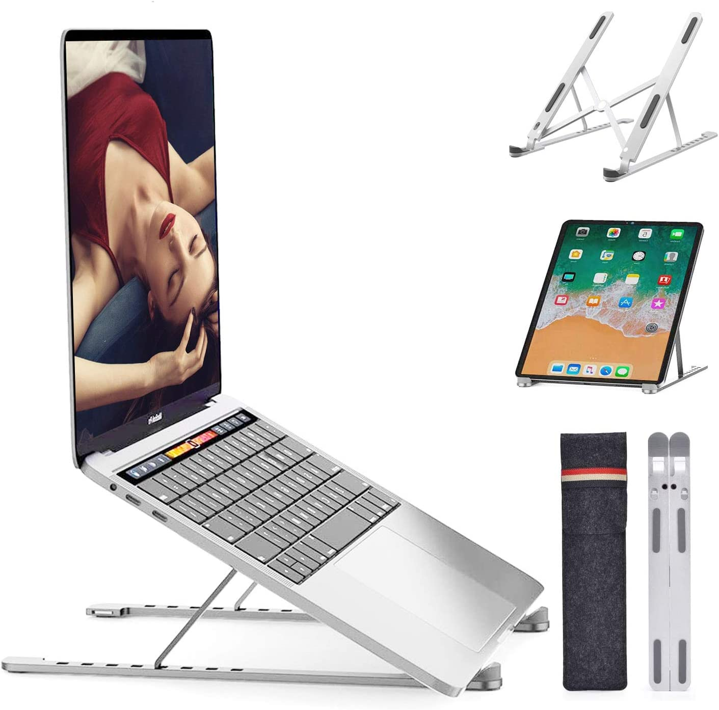 "Laptop Stand Adjustable Computer Stand,Portable Laptop Riser for Desk,Foldable Laptop Stands,8 Angles Adjustable Laptop Holder,Macbook Stand,laptop mount for MacBook Pro Air/Tablet/iPad/8-17.3""Laptops"