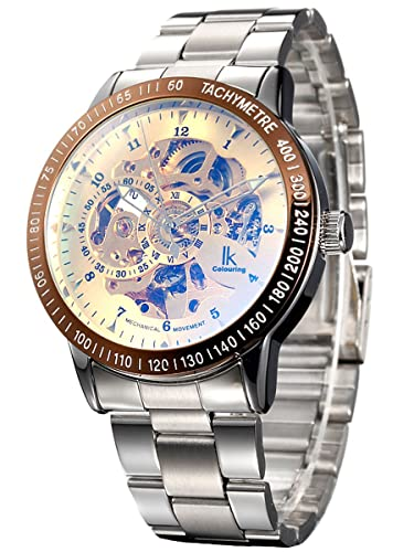 Alienwork IK Reloj Mecánico Automático Relojes Automáticos Hombre Mujer Acero Inoxidable Plata Analógicos Unisex Oro Impermeable: Amazon.es: Relojes