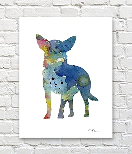 Chinese Crested Abstract Watercolor Painting Art Print By Artist Dj Rogers Art