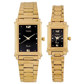 2164647f7 Times Analog Quartz Rectangle Black Dial Gold Color Band Couple Wrist Pair  Wedding Gift Watch for