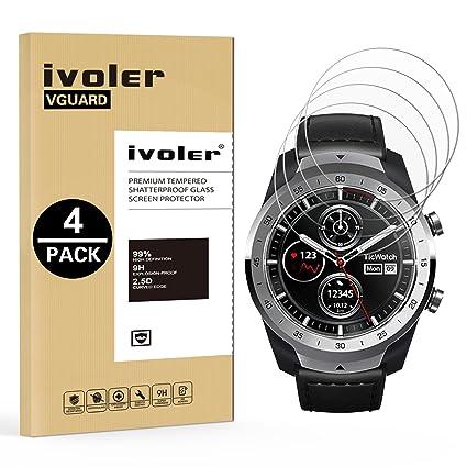 iVoler [4 Unidades] Protector de Pantalla para TicWatch Pro Smartwatch, Cristal Vidrio Templado Premium