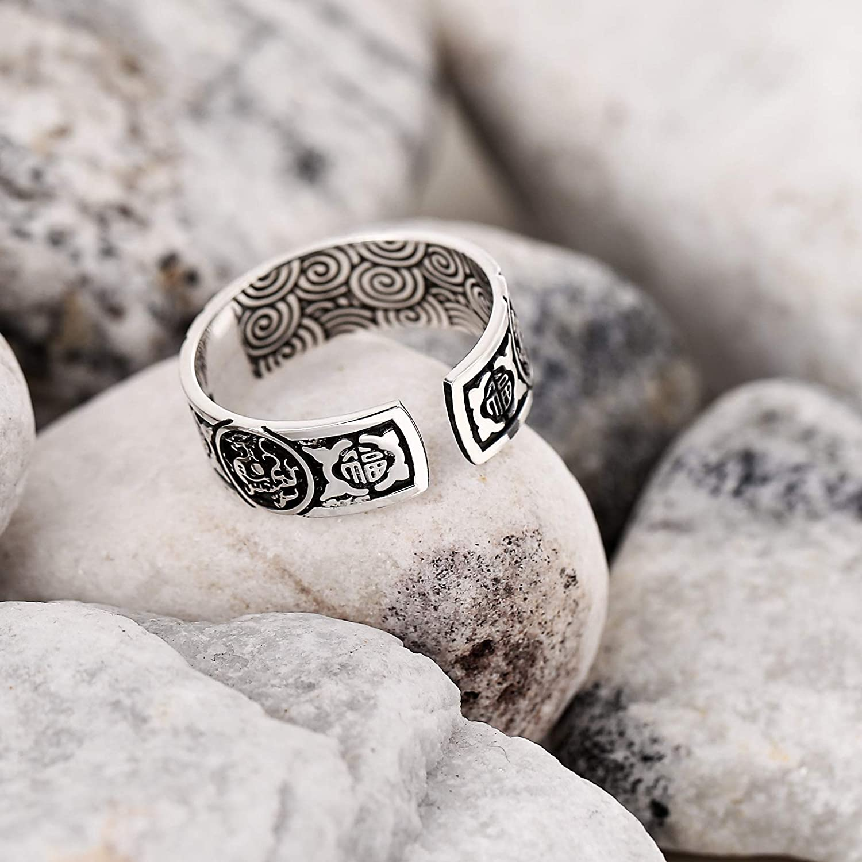 KnSam Mens Sterling Silver Jewelry Wedding Rings Fu Word