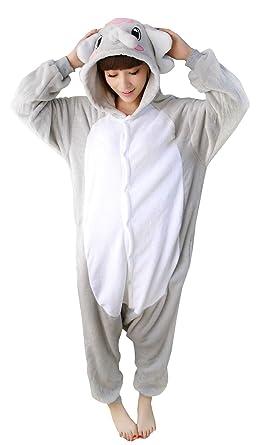 NOL Unisex Adult Grey Elephant Costume Pyjamas Kigurumi Small Black