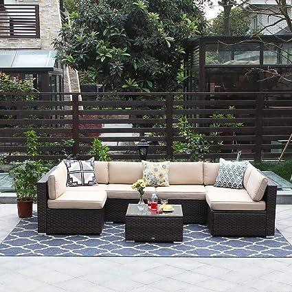 Amazon.com: PHI VILLA Juego de muebles de patio de mimbre ...