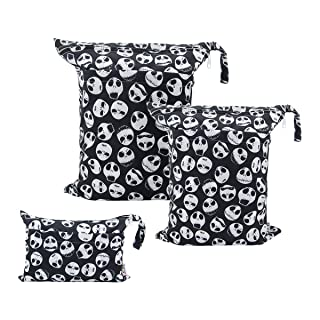 ALVABABY 3pcs Baby Cloth Diaper Wet Dry Bags Waterproof Reusable with Two Zippered Pockets Travel Beach Pool Daycare Soiled Baby Items Yoga Gym Bag for Swimsuits or Wet Clothes 3L-YA132