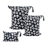 ALVABABY 3pcs Baby Cloth Diaper Wet/Dry Bags Waterproof Reusable with Two Zippered Pockets Travel, Beach, Pool, Daycare, Soiled Baby Items,Yoga,Gym Bag for Swimsuits or Wet Clothes 3L-YA132