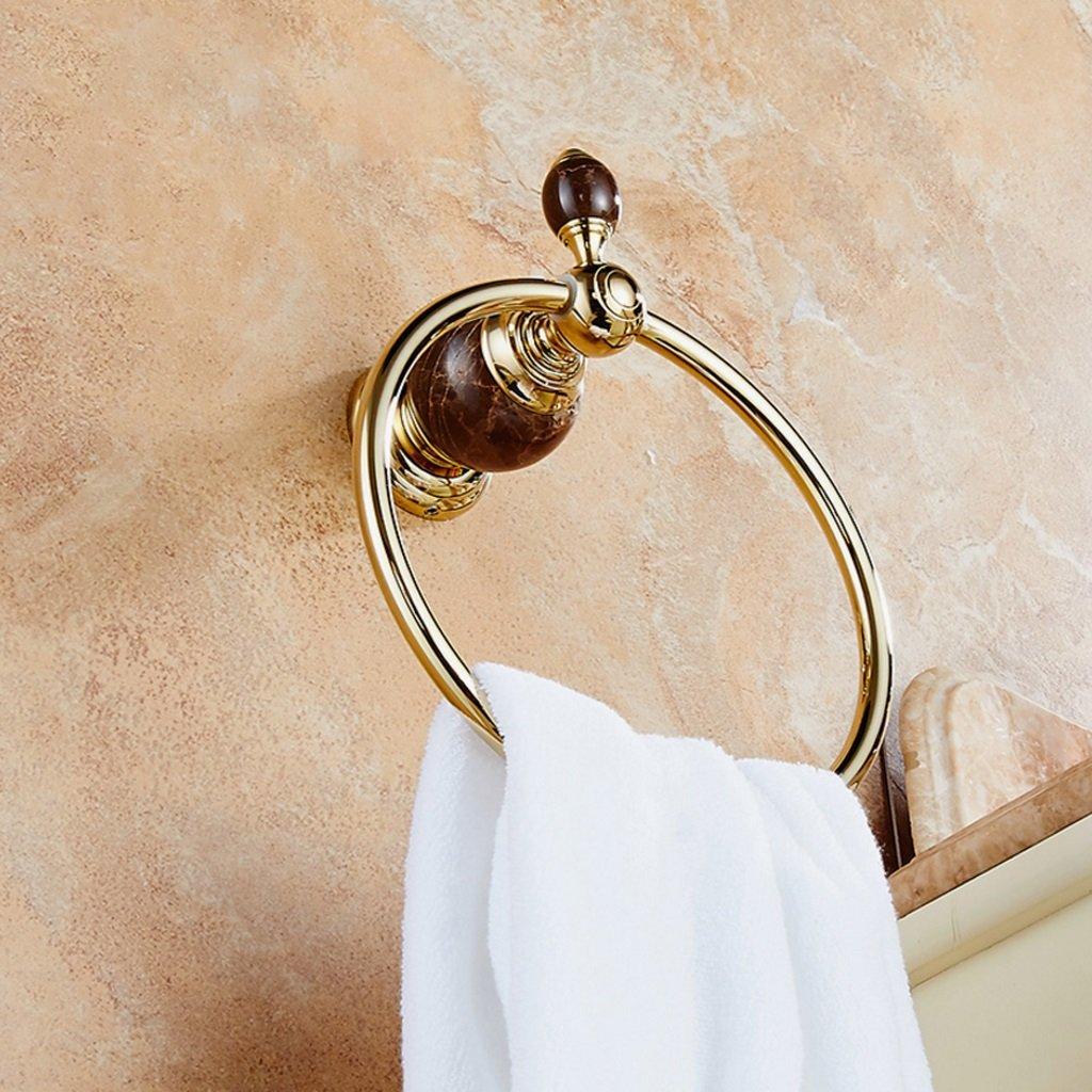 タオルリング モダンシンプリシティゴールデンカラーウォールマウントタオルリングバスルームハードウェアアクセサリー防錆翡翠の石の装飾 B07BWN3XPF