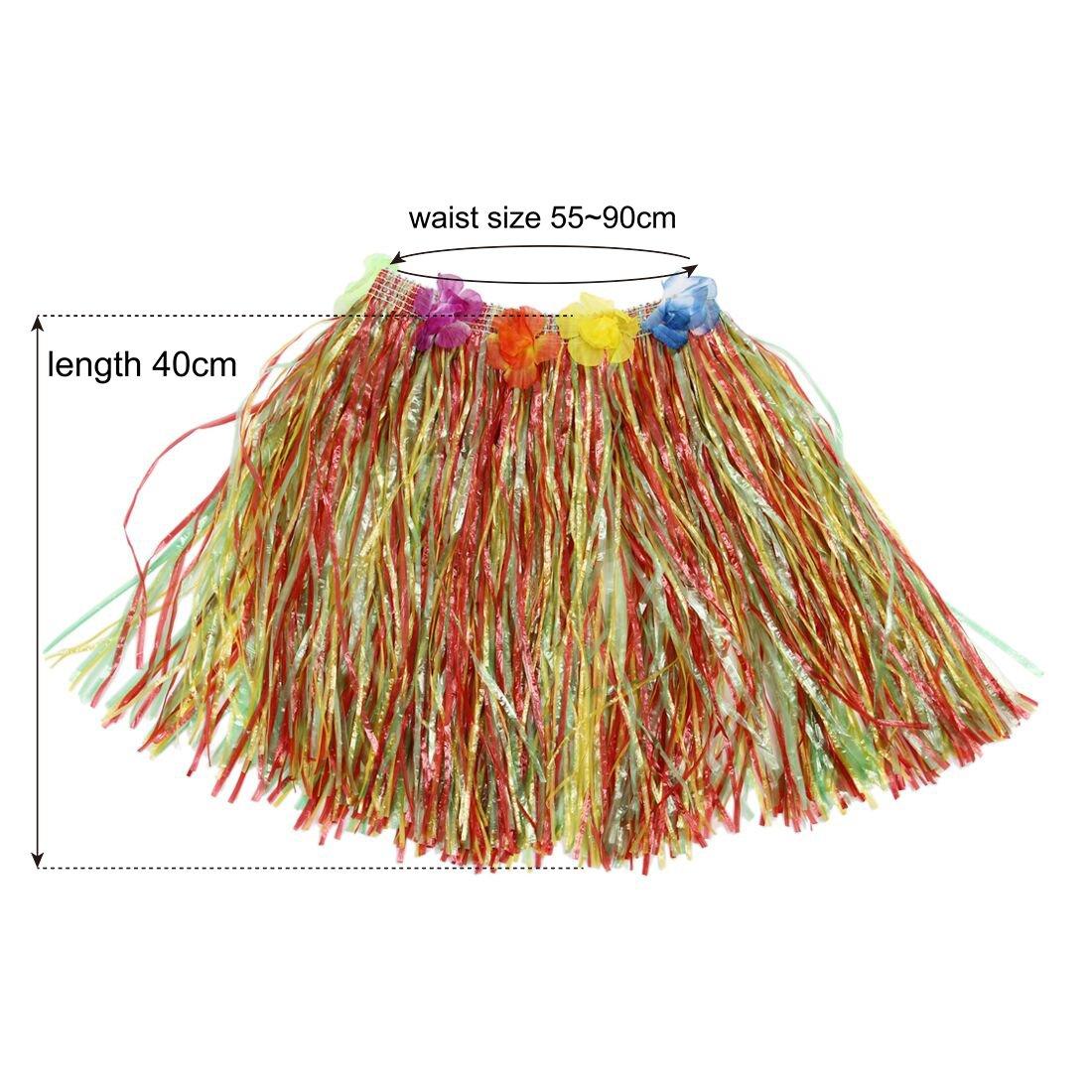 InnoBase Hawaiian Hula Grass Rock mit Blumen Leis Kost/üm Set Elastische Grass und Blumen Armb/änder Stirnband Halskette f/ür Luau Beach Party Dance Gef/älligkeiten Kost/üm Frauen