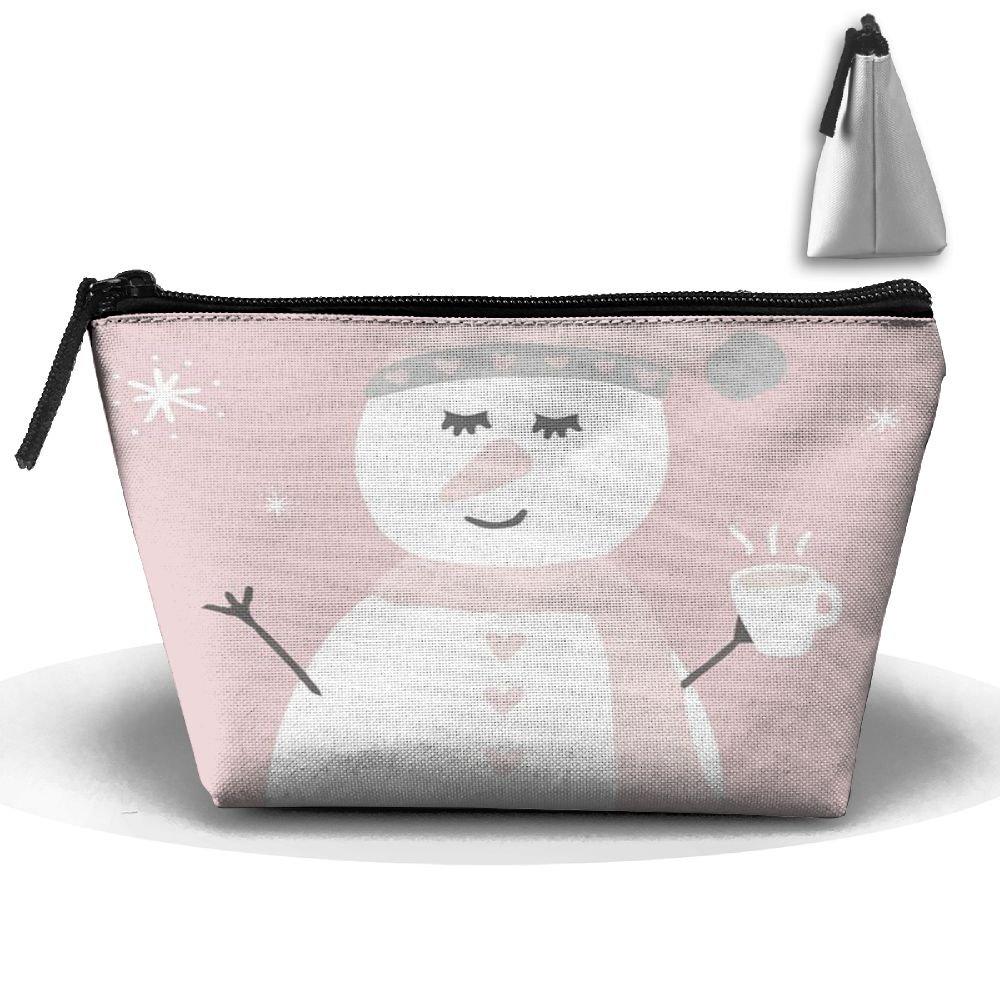 雪だるまピンクキュート旅行化粧品バッグ台形ファスナー受信バッグ旅行ファッション B07877FKF3