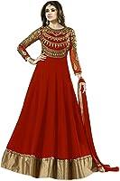 Florely Women's Georgette Anarkali Dress Material (Prachi_Long_Red_Free Size)