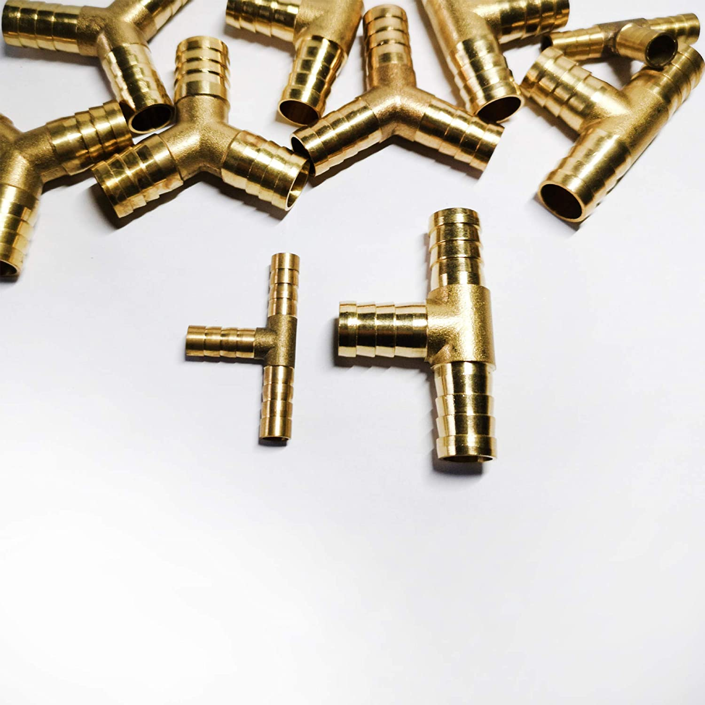 Schneespitze 4PCS Messing T-St/ück Schlauchverbinder,Druckluft Schlauchverbinder,Fittings Rohrverbindungsst/ücke,3 Wege T-f/örmiger Messing Verbindungsschlauch,6mm 8mm 10mm 12mm