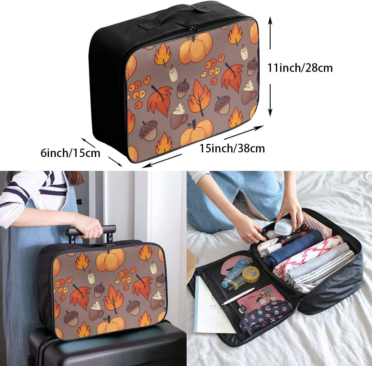 Maple Leaf Pumpkin Travel Carry-on Luggage Weekender Bag Overnight Tote Flight Duffel In Trolley Handle