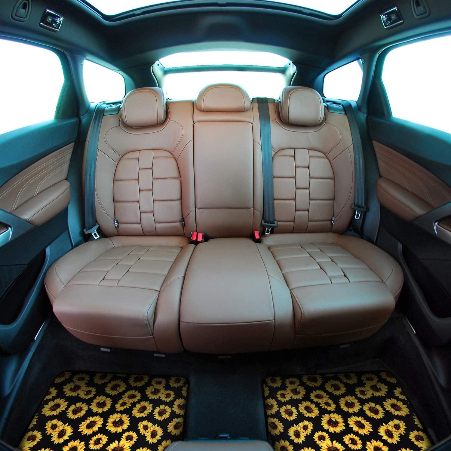 BBTO 5 Pieces Sunflower Car Accessories Include Sunflower Car Floor Mats Set Front Rear Mats and Sunflower Steering Wheel Cover for Most Cars All Weather Protection Interior Decoration