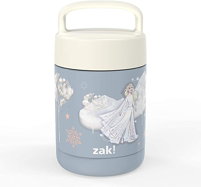 Zak Designs Disney Frozen Movie Kids' Vacuum Insulated Stainless Steel Food Jar with Carry Handle, Thermal Container for Travel Meals and Lunch On The Go, 12 oz, Elsa
