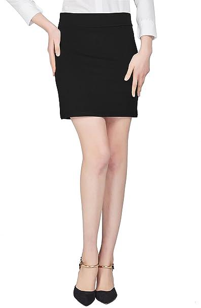 b469f422e6 Urban GoCo Mujeres Falda Mini Recta Cintura Elástica Stretch Bodycon Tubo Falda  Corta Oficina  Amazon.es  Ropa y accesorios