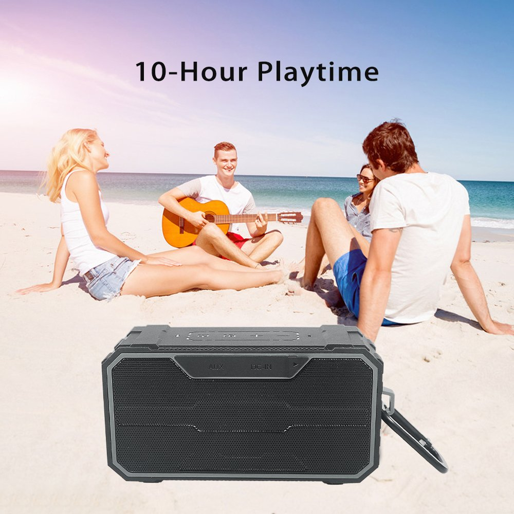 Zosam Portable Bluetooth V4.2 Wireless Speaker, HiFi 10W Driver IPX6 Waterproof Outdoor Stereo Speaker with Built-in Mic and AUX/SD Input for Home, Shower, Beach, Party, Travel (Black) by Zosam (Image #5)