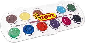 Jovi - Acuarelas, estuche con 12 pastillas de 30 mm, colores surtidos (830/12): Amazon.es: Juguetes y juegos
