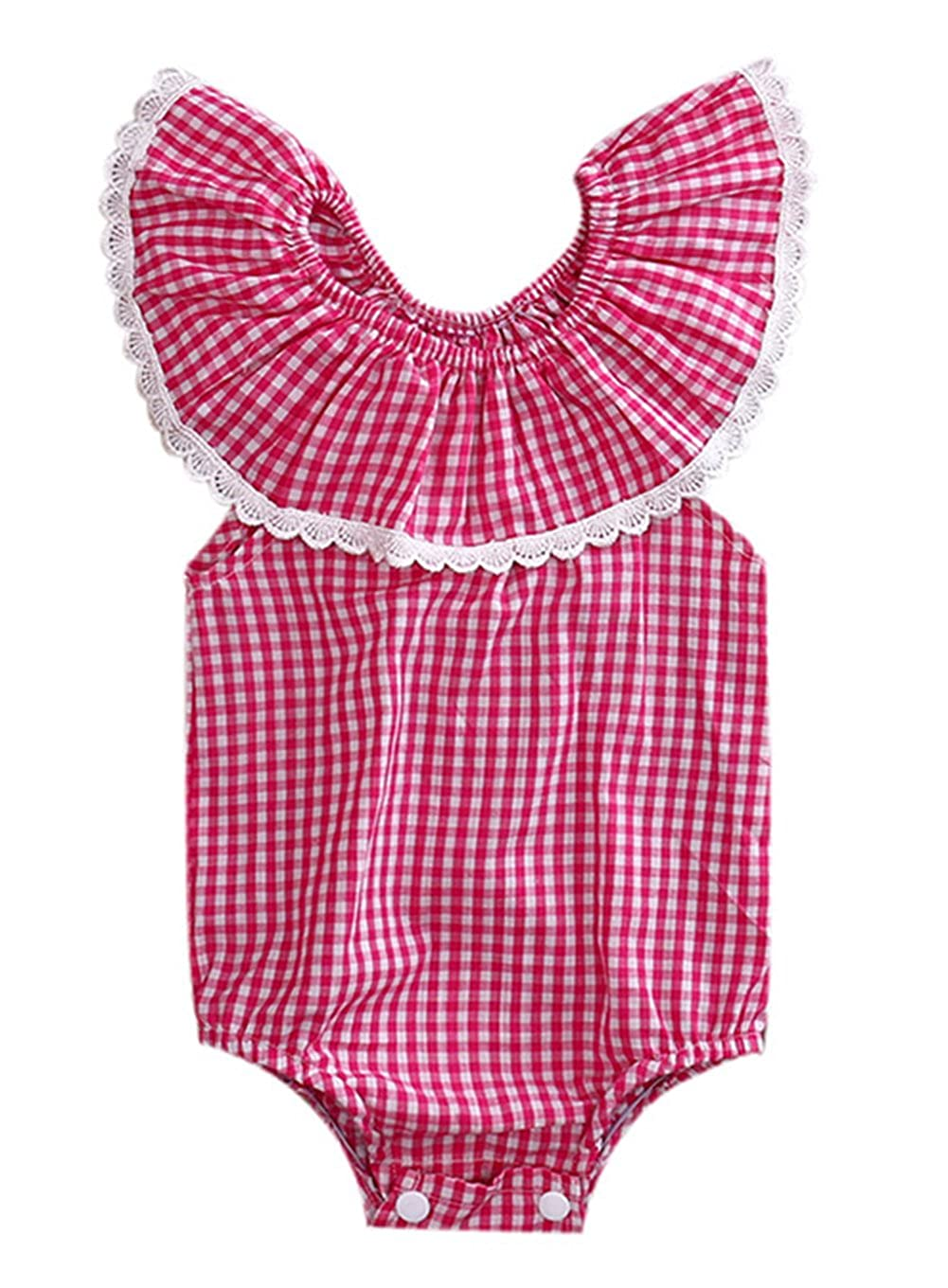 stylesilove Baby Girl Checkered Pattern Lace Lotus Collar Off Shoulder Bodysuit Romper