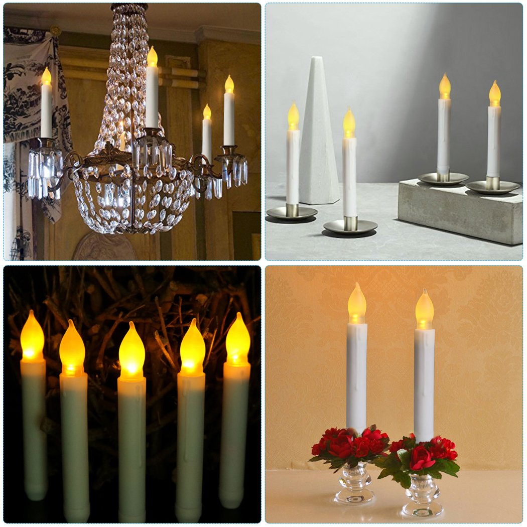 Funpa Taper Candles Light, 12Pcs Flameless Candle Light Electronic Battery Powered Candles LED Candles for Festival