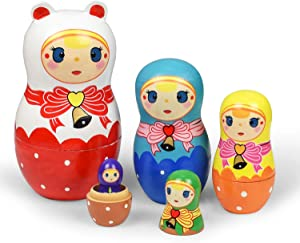 Russian Nesting Dolls 5 Pieces Matryoshka Doll for Kids Christmas Decorations Cute Cartoon Pattern Wooden Toys Gifts