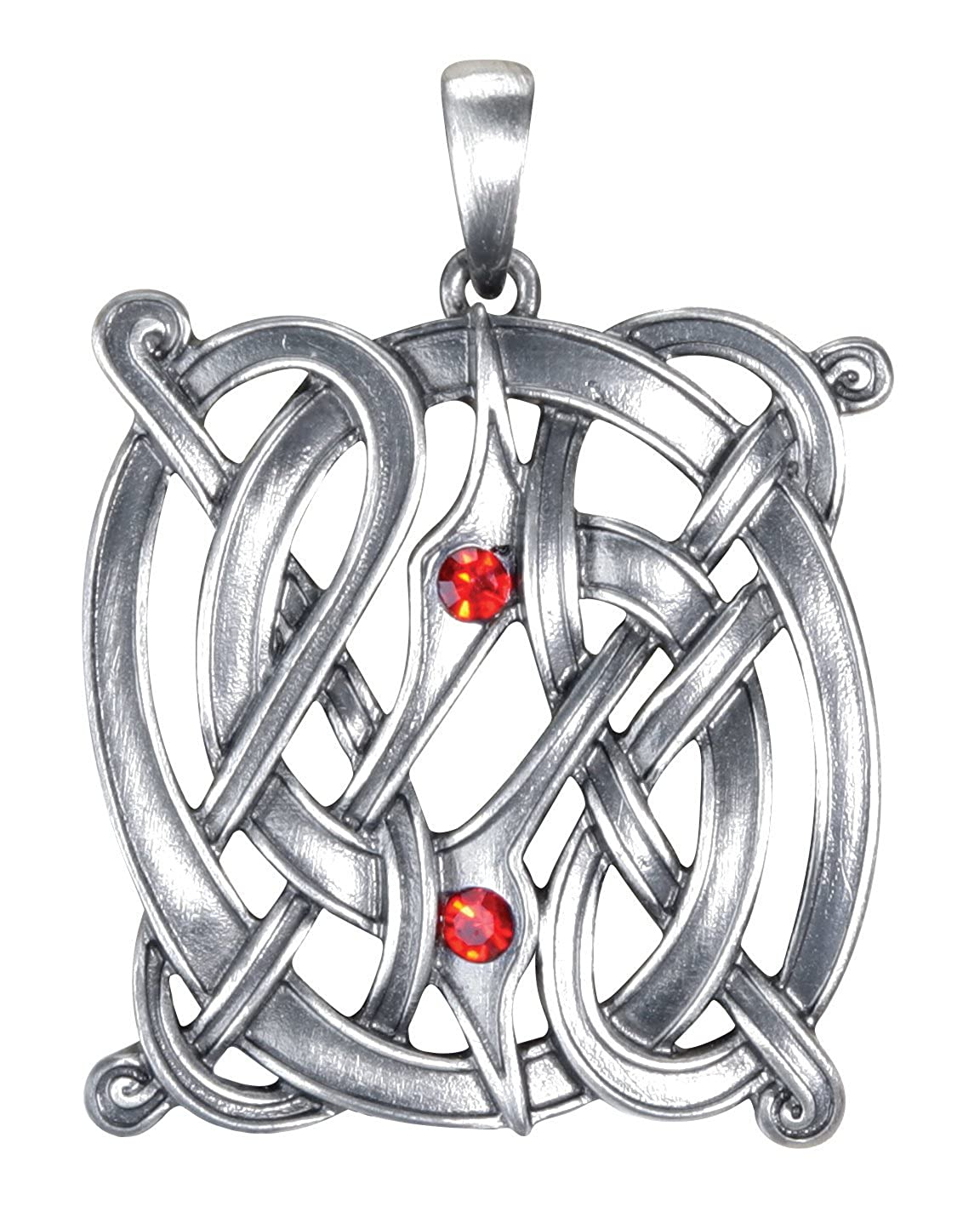 YTC Summit 1.5 Inch Celtic Knot Charm Pendant with Red Stones Silver Colored