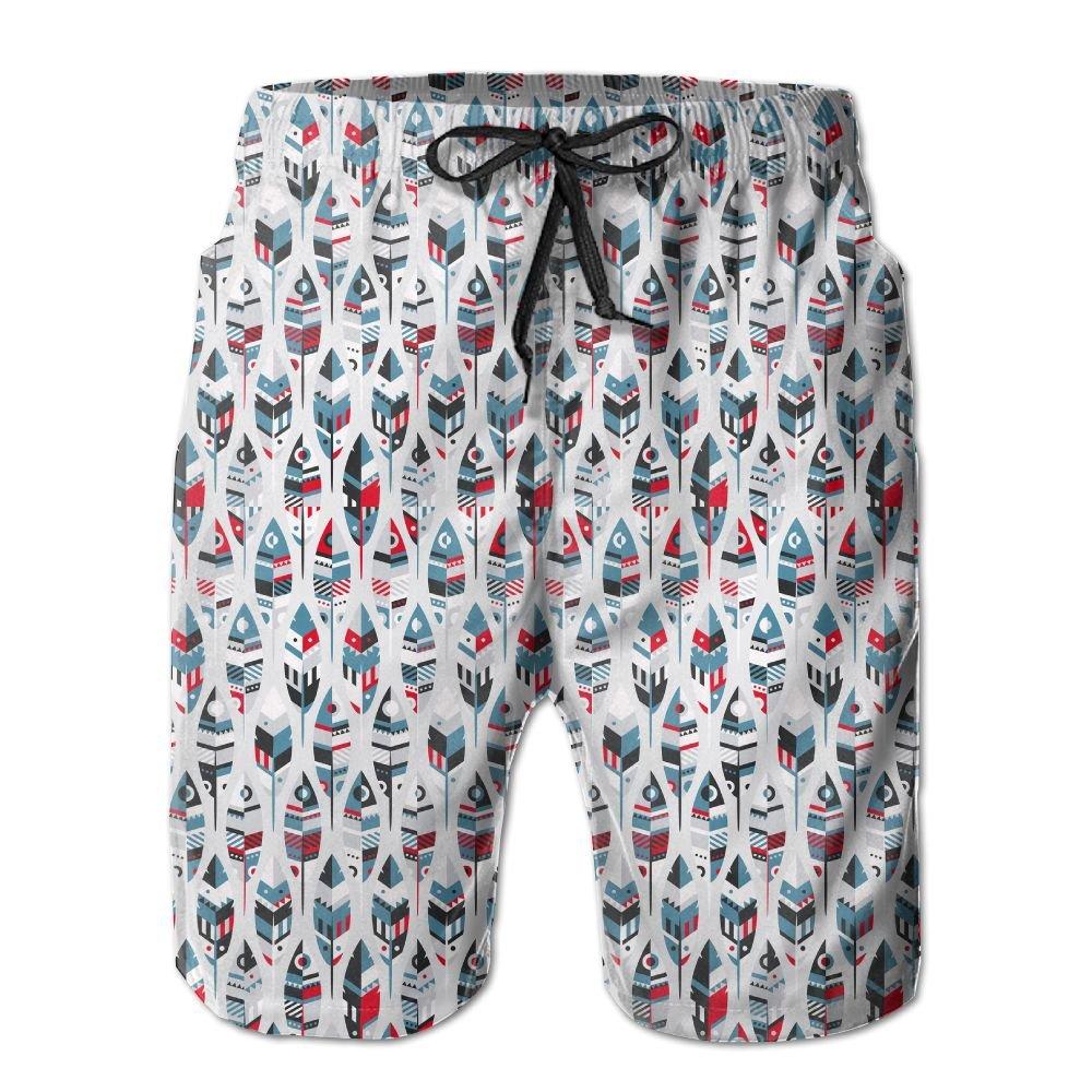 Lisang Mens Colorful Splice Fish Lightweights Beach Shorts Sports Swim Trunks X-Large